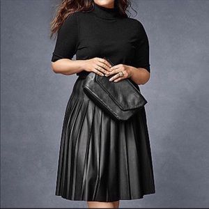 Eloquii Pleated Black Faux Leather Skirt